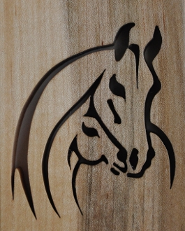wooden trays, horse motif