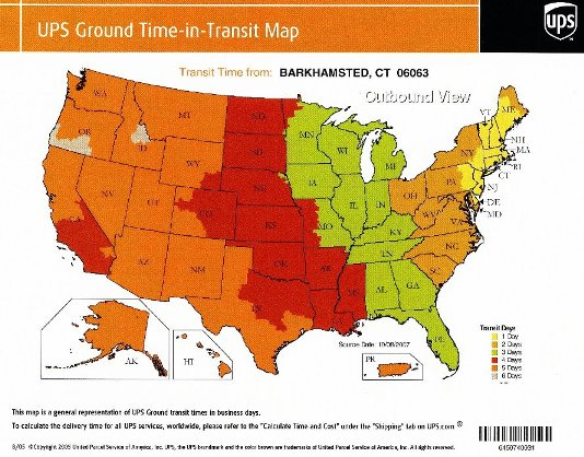 UPS Shipping Rate Guide - Ups shipping time map
