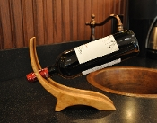 unique wine gift, curved wine holder maple