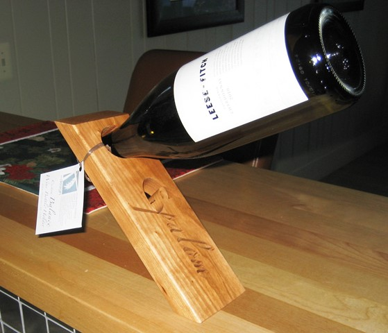 groomsman gift ideas - wine bottle holder, wedge with maple and corporate logo